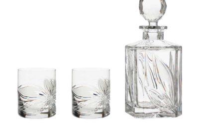 LIQUOR SET – Crystal Square Decanter & Whisky Glasses Boho Orchidea Set of 3