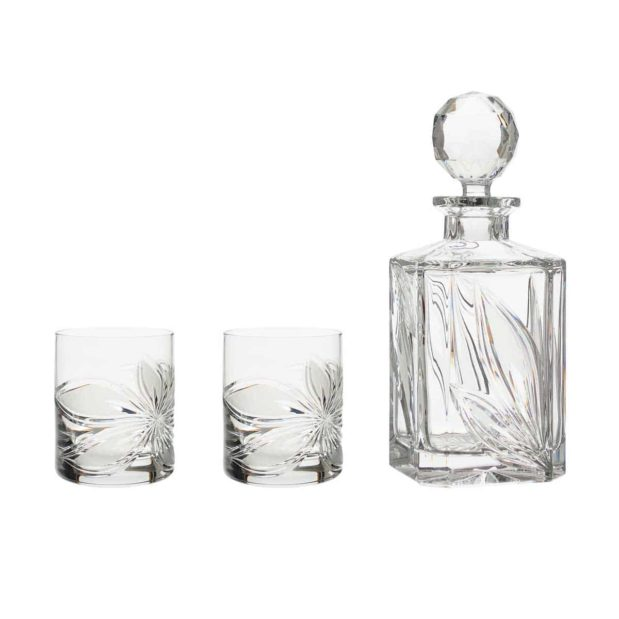 liquor decanter set crystal square decanter old fashioned glasses orchidea floral Crystallo BG902OR