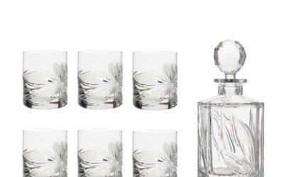 LIQUOR SET – Crystal Square Decanter & Whisky Glasses Boho Orchidea Set of 7