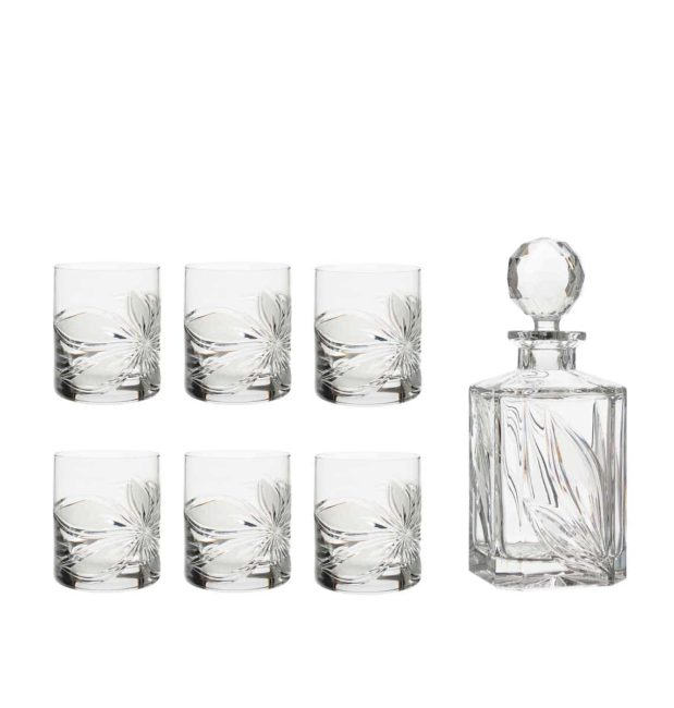 liquor decanter set crystal square decanter old fashioned glasses orchidea floral Crystallo BG902OR 7