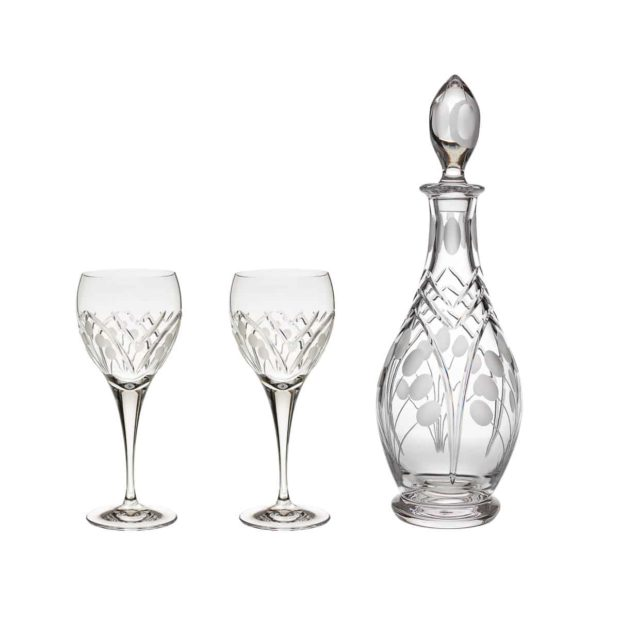 wine decanter set crystal rounded decanter wine glasses nostalgia art deco Crystallo BG903NS