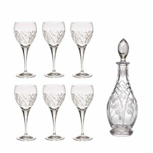 wine decanter set crystal rounded decanter wine glasses nostalgia art deco Crystallo BG903NS 7
