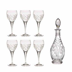 wine decanter set crystal rounded decanter wine glasses nostalgia art deco Crystallo BG903NS 7