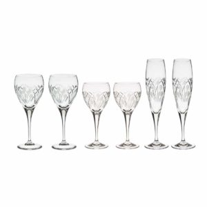 wine set just for two crystal champagne flutes white wine glasses red wine goblets nostalgia art deco Crystallo BG905NS