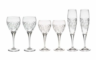 "WINE SET ""JUST FOR TWO"" – Champagne Flutes & Wine Glasses & Goblets Art Deco"
