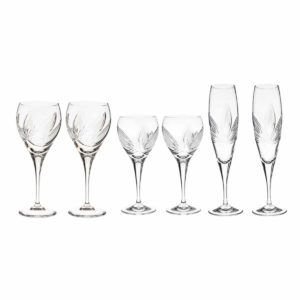 wine set just for two crystal champagne flutes white wine glasses red wine goblets orchidea floral Crystallo BG905OR